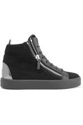 Giuseppe Zanotti Glossed Leather Trimmed Suede High Top Sneakers Black
