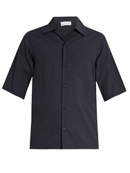 Raey Short Sleeved Cotton Shirt Navy