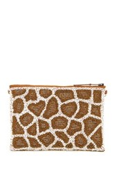 G Lish Beaded Animal Print Pouch Multi
