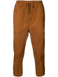 Publish Cropped Drawstring Trousers Men Cotton Spandex Elastane 34 Brown