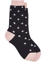 Maria La Rosa Women's Polka Dot Mid Calf Socks Navy