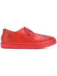 Marsell Distressed Lace Up Shoes Calf Leather Leather Rubber Red