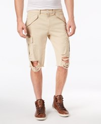 Guess Men's Destroyed Cargo Shorts Sand Washed