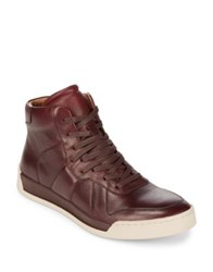 John Varvatos Remy Court Leather Mid Top Sneakers Wine