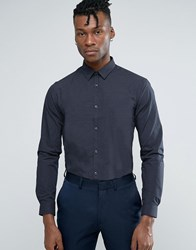 New Look Shirt With Pin Dot Print In Regular Fit Navy