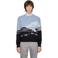 Thom Browne Blue Jacquard Dolphin Sweater