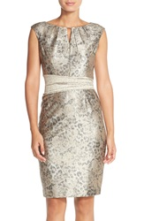 Ellen Tracy Metallic Jacquard Sheath Dress Gold