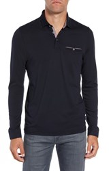 Ted Baker London Loomie Slim Fit Tipped Long Sleeve Polo Navy