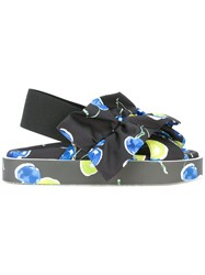 Msgm Blueberry Print Sling Back Sandals Black