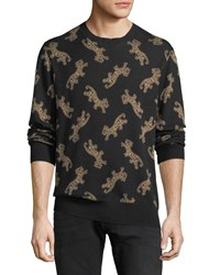 Ovadia And Sons Leopard Jacquard Sweater Black