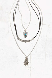 Urban Outfitters Shield Hamsa Layering Necklace Set Silver