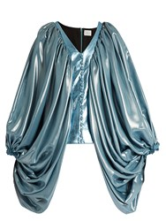 Hillier Bartley Balloon Sleeve Silk Blend And Faux Leather Top Blue