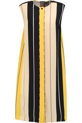 Fendi Striped Silk Dress Yellow