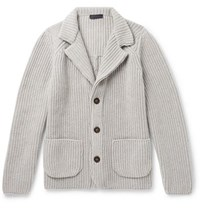 Thom Sweeney Ribbed Cashmere Cardigan Light Gray