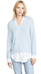 Brochu Walker V Neck Layered Pullover Skye