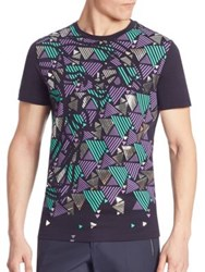 Versace Medusa Metallic Graphic Tee Blue Multicolor
