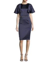David Meister Capelet Short Sleeve Jewel Waist Dress Navy