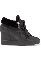 Giuseppe Zanotti Shearling Trimmed Textured Leather Wedge Ankle Boots Black