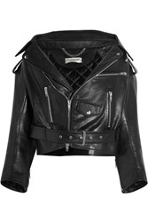 Balenciaga Swing Leather Biker Jacket Black