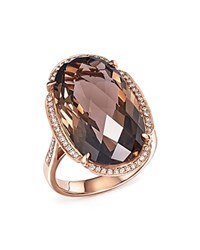 Bloomingdale's Smoky Quartz Oval And Diamond Ring In 14K Rose Gold Rose Gld