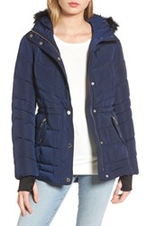 Guess Women's Faux Fur Trim Quilted Anorak Indigo