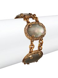 Stephen Dweck Oval Mother Of Pearl Rock Crystal And Bronze Bracelet