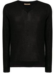 Nuur Slim Ribbed Jumper Black