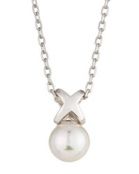 Majorica Sterling Silver Infinity Pearl Pendant Necklace White