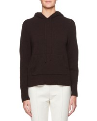 The Row Hooded Cashmere Sweatshirt Dark Brown