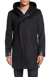 Lamarque Men's Leather Trim Wool And Cashmere Blend Hooded Asymmetrical Coat