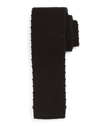 Hugo Boss Knit Cotton Tie Charcoal Black