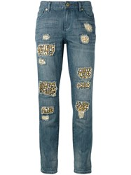 Michael Michael Kors Distressed Embellished Jeans Blue
