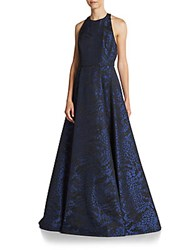 Alice Olivia Teifer Leather Accented Gown Blue