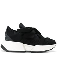 Maison Martin Margiela Mm6 Bandaged Platform Sneakers Cotton Suede Polyester Rubber Black