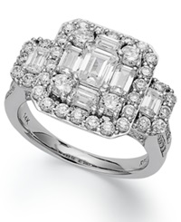 Macy's Emerelle Collection Round And Emerald Cut Diamond Engagement Ring In 14K White Gold 2 1 2 Ct. T.W.
