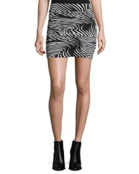T Bags Graphic Print Ruched Mini Skirt Black