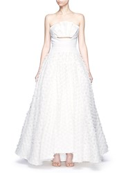 Maticevski 'Willow' Cutout Ruffle Bandeau Fil Coupe Strapless Gown White