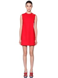 Valentino Double Stretch Wool Crepe Dress Red