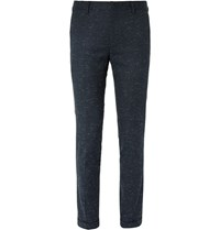 Paul Smith Navy Slim Fit Slub Stretch Wool And Cotton Blend Suit Trousers Midnight Blue