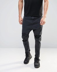 Asos Drop Crotch Jeans With Extreme Rips In Black Black