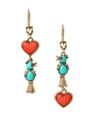 Betsey Johnson Delicates Bird And Heart Double Drop Mismatch Earrings Blue
