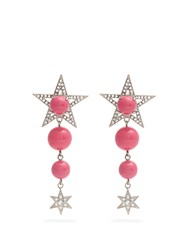 Miu Miu Star Bead And Crystal Embellished Clip On Earrings Pink