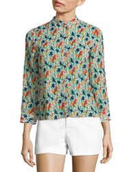 Alice Olivia Eloise Printed Stretch Silk Blouse Bird Party