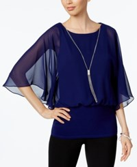 Msk Banded Chiffon Blouse Midnight