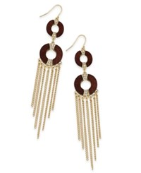 Thalia Sodi Gold Tone Crystal And Wood Fringe Drop Earrings Only At Macy's Gold Brown