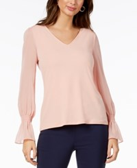 Thalia Sodi Chiffon Sleeve Top Created For Macy's Coral Cielo