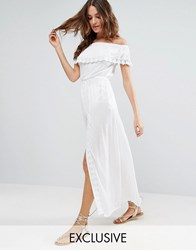 Akasa Off The Shoulder Ruffle Beach Dress White