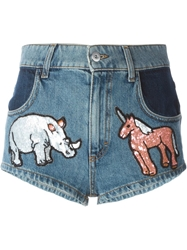 Au Jour Le Jour Sequins Embroidered Animals Shorts Blue