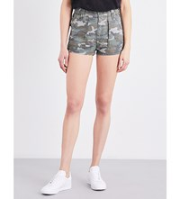 Free People Camouflage Print High Rise Shorts Green Combo