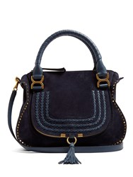 Chloe Marcie Medium Suede Tote Navy